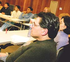 Students at a patient safety course