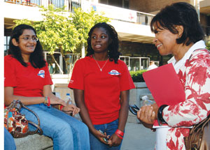 Chancellor Paula Allen-Meares chats with students