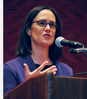 Illinois Attorney General Lisa Madigan speaks at Student Center East