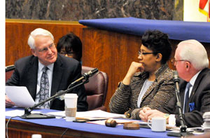 University Interim President Stanley Ikenberry, Latasha Thomas and 14th Ward Ald. Ed  Burke