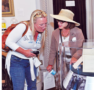 Marcia Schaeffer, right, and Letitia Salamone view new exhibits at Jane Addams Hull-House Museum