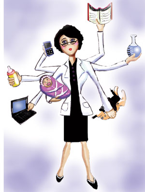 artwork of woman juggling many tasks