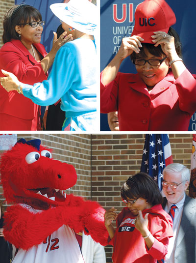 Paula Allen-Meares wore a Flames-red suit and a UIC pin for her introduction to UIC.